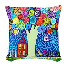 Landscape Pillow - Woven Throw Pillow Tree Modern Abstract Art by Heather Galler