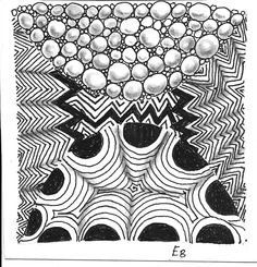 Elizabeth Bev: My tangle from day 1 of the book Zentangle a day. Patterns are Crescent Moon, Stipple and Static.