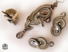 Soutache  set earrings, ring and pendant in Grey by caricatalia.deviantart.com…