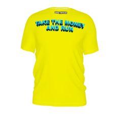 #Takethemoneyandrun by #FrankieT, #citrusreport, #tee, #teeshirt, #tshirt, #alloverprint, #yellow, #blue, #money, #run, #type, #text, #@The Citrus Report