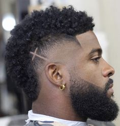 mohawk fade with cross design black Men Mens Hairstyles Male Haircuts Curly, Mohawk Hairstyles Men, Black Men Haircuts, Black Men Hairstyles, Natural Afro Hairstyles, Hairstyles Pictures, Permed Hairstyles, Braided Hairstyles, Black Man Haircut Fade