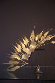 Gold Arrow Feather Band with diamente leaves - On Your Head Be It Hat Hire