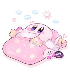 Waking up to a new day ☀️ - Art by : Kirby Cute Kawaii Drawings, Kawaii Art, Kawaii Anime, Kirby Memes, Kirby Character, Nintendo Characters, Cute Characters, Japon Illustration, Kawaii Wallpaper