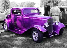 Purple Car The Purple, All Things Purple, Shades Of Purple, Purple Cars, Purple Stuff, Bright Purple, Pink, Classic Hot Rod, Classic Cars