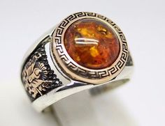 Turkish Handmade SNOW BRAND 925 Sterling Silver Amber Mens Ring Sz 11