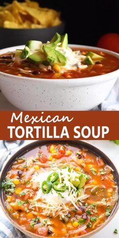 Mexican Tortilla Soup, Mexican Soup Recipes, Slow Cooker Tortilla Soup, Easy Soup Recipes, Tortilla Soup Vegan, Mexican Soup Vegetarian, Tortilla Soup Recipe Crockpot, Slow Cooker Recipes, Indian Food Recipes
