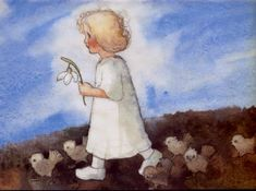 De lente komt. Illustratie: Milie Weber. Postkaart