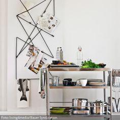 Als Wandaufbewahrung für Küchenrollen, Rezepte, Geschirrtücher, Deko und vielem mehr wurde eine schwarze Schnur straff von Haken zu Haken gespannt. Eine einfache und sehr stylische Lösung, um die Küche kreativ zu verschönern und praktische Aufbewahrungsmöglichkeiten für herumfliegende Dinge zu schaffen.