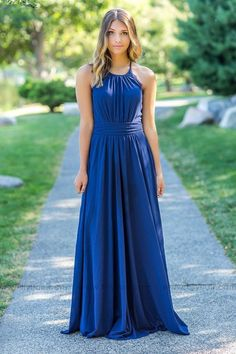 Long Navy Bridesmaid Dress for Country Wedding