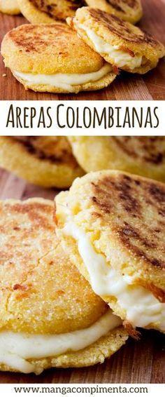 Arepas Colombianas, para um lanche diferente no final de semana. #receita #lanche #comida #arepas #queijo #vegetariano