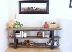 This modern rustic console is an easy DIY build that you can finish in a day, great for beginning and advanced builders. Perfect storage for books, decor, and toys.