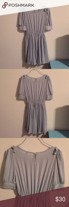 """Mint dainty dress Mint dainty dress with pleated bottom. Skirt area has lining as shown in last picture. Length from shoulder to hem is about 32"""". Shoulder to shoulder measures about 14"""". Waistline is elastic. In excellent condition. Dresses"""
