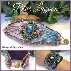 BLUE LAGOON Bead Embroidered Shibori Silk Cuff made by RAVENGIRL DESIGNS on Facebook