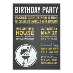 Tafel GRILLEN Geburtstags-Party Einladungen 11,4 X 15,9 Cm Einladungskarte