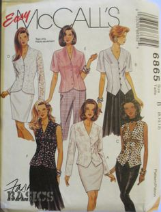 Sewing Pattern 1990's McCalls 6865 Misses V Neck Button Up Tops Pattern Size 8-12