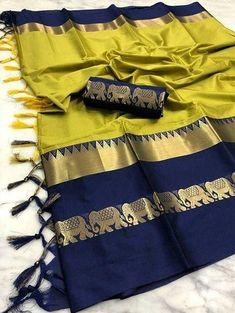 Cotton Silk paanchi sarees at (PID: Elegant cotton silk sarees with blouse Silk Saree Kanchipuram, Raw Silk Saree, Kanjivaram Sarees, Patiala Salwar, Net Saree, Salwar Suits, Cotton Silk Fabric, Silk Cotton Sarees, Cotton Blouses
