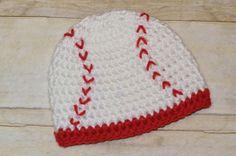 Custom Crochet Baseball Beanie Hat for Babies You Pick the Size. $9.00, via Etsy.