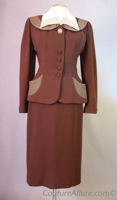 1950 | Brown Wool Suit Small Elaborately Adorned with Cream Top-Stitching at the Pockets and Collar by Lilli Ann