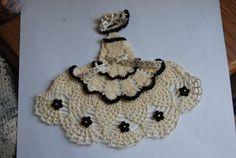 Crinoline Lady Hand Crochet Doily in Cream w Black Trim / Southern Belle