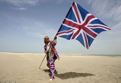 Saying goodbye: Sir Richard Branson has draped himself in the Union Flag to promote his business in the past. He is pictured here in Dubai in Now he is living on his holiday island of Necker in the British Virgin Islands Union Jack Suit, All Over The World, The Past, City Jobs, Tax Haven, Union Flags, Visit Dubai, Social Media Services, Dubai City
