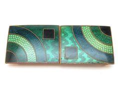 c1930 ORIGINAL ANTIQUE ART DECO GREEN GUILLOCHE ENAMEL ON COPPER BELT BUCKLE
