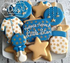 "506 Likes, 7 Comments - Christy (@dolcecustomcookies) on Instagram: ""#twinkletwinklelittlestar #twinkletwinklelittlestarcookies #babyshowercookies #decoratedcookies…"""