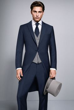 Navy Tail Suit available to hire or buy. This lightweight slimline tail suit is perfect for weddings Groom Morning Suits, Wedding Morning Suits, Best Wedding Suits, Wedding Tux, White Wedding Suit, Wedding Outfits, Wedding Gifts, Wedding Dresses, Groomsmen Suits