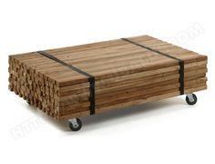 Table basse LF Irma bois de teck naturel sur roulettes