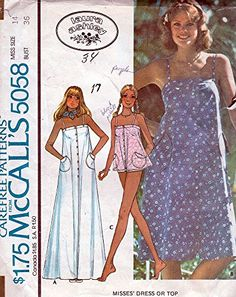 McCall's Vintage Pattern Laura Ashley Dress or Top; Vintage Dress Patterns, Clothing Patterns, Vintage Dresses, Vintage Outfits, Clothing Items, Laura Ashley Patterns, 70s Fashion, Vintage Fashion, One Piece Swimsuit Trendy