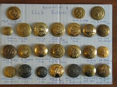 Club/Association related buttons from Uniform buttons researchers and collectors on FACEBOOK. #buttonlovers