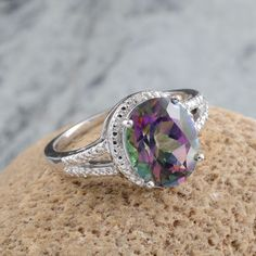 Northern Lights Mystic Topaz and Diamond Ring in Platinum Overlay Sterling Silver (Nickel Free)