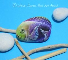 Colorful fish Hand Painted Pebble Fridge Magnet ! Is Painted with high quality Acrylic paints and finished with Glossy varnish protection.