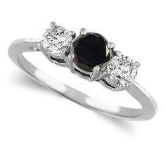 Three Stone Black and White Diamond Ring in 14 White Gold #Unbranded #ThreeStone #Engagement