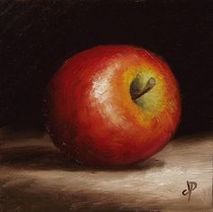 Little Braeburn Apple, J Palmer Original oil still life mini Art