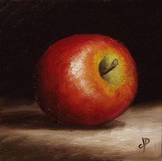 Little Braeburn Apple, J Palmer Original oil still life mini Art