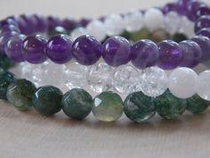 Boho Stacking Bracelets / Amethyst Bracelet / Moss Agate Bracelet / Crystal Quartz Bracelet / Stretch Beaded Bracelets / Bracelet Set / Boho by MalieCreations on Etsy