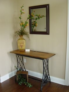 D&F table - repurposed sewing machine base with an old school desk top