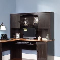 Attaches to  Corner Computer Desk 403794 .  Hutch can be fastened on the left or right side.  Antiqued Paint finish.