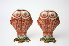 Pair of Double Carp Chinese Bronze-Mounted Export Porcelain, Qing Dynasty 4