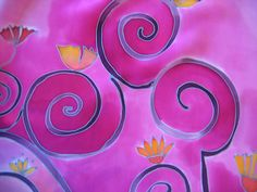 Pink silk scarf with spiral flowers. Floral. Hand painted by SilkAgathe.