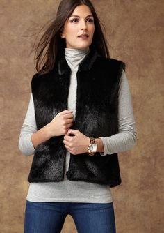 SURELL Faux Mink Fur Vest