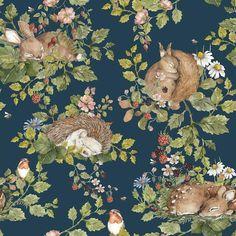 Dekornik Little Sleepy Animals Wallpaper - Dark - 550cm (11 x Rolls)