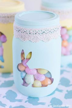 Spring Painted Candy Jars | The JavaCupcake Blog http://javacupcake.com