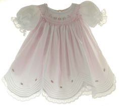 Hiccups Childrens Boutique - Willbeth Infant Girls White Smocked Bishop Dress with Lace and Pink Ribbons, $72.00 (http://www.hiccupschildrensboutique.com/willbeth-infant-girls-white-smocked-bishop-dress-with-lace-and-pink-ribbons/)
