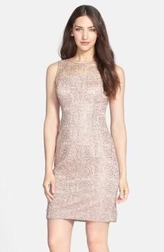 Rose gold sequin + lace dress