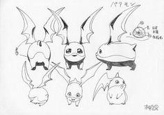 Patamon  Katsuyoshi Nakatsuru's (中鶴 勝祥) character designs from Digimon Adventure (I believe) & the 1st Digimon 02 movie.