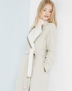 35b102f8c Contrast collar wrap coat - Ecru