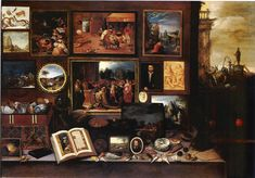 """Frans Francken II - A collector's cabinet with """"ânes iconoclastes"""" (IT: Gabinetto di un amatore con asini iconoclasti), Tachisme, Art Desk, European Paintings, Vanitas, Beautiful Paintings, Abstract Expressionism, Silhouette, Art History, Art Projects"""