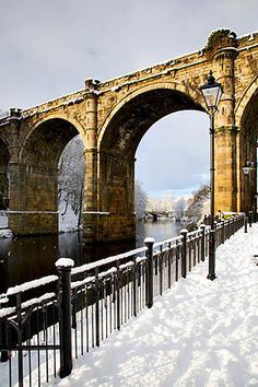 Viaduct and River Nidd in Winter - Knaresborough, North Yorkshire, England, UK