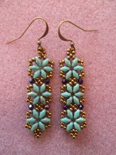 Hexagon Duo Earrings PDF Bead Weaving Tutorial by offthebeadedpath, $4.00